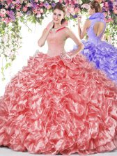 Glittering High-neck Sleeveless Backless Sweet 16 Dresses Coral Red Organza