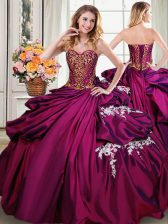 Decent Burgundy Taffeta Lace Up Sweetheart Sleeveless Floor Length Sweet 16 Dresses Beading and Appliques and Pick Ups