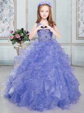 Wonderful Scoop Sleeveless Organza Girls Pageant Dresses Beading and Ruffles Lace Up