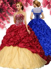 Best Selling Taffeta Sweetheart Sleeveless Brush Train Lace Up Pick Ups Quince Ball Gowns in Wine Red