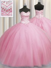 On Sale Bling-bling Big Puffy Rose Pink Sleeveless Tulle Lace Up Quince Ball Gowns for Military Ball and Sweet 16 and Quinceanera