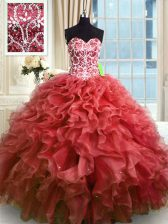 Wine Red Ball Gowns Organza Sweetheart Sleeveless Beading and Ruffles Floor Length Lace Up Quinceanera Dress