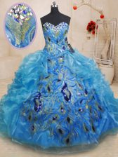 Beading and Appliques and Ruffles Quinceanera Dresses Baby Blue Zipper Sleeveless Floor Length