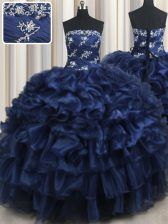 Navy Blue Ball Gowns Appliques and Ruffles and Pick Ups Quinceanera Dress Lace Up Organza Sleeveless Floor Length