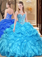 Enchanting Floor Length Aqua Blue Quince Ball Gowns Sweetheart Sleeveless Lace Up