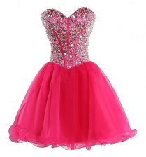 Hot Pink Organza Lace Up Dress for Prom Sleeveless Mini Length Beading