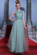 Delicate Light Blue Column/Sheath Beading and Appliques and Ruching Evening Dress Side Zipper Chiffon Sleeveless Floor Length