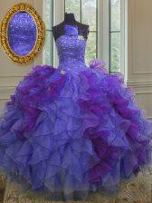 Fabulous Halter Top Sleeveless Organza Vestidos de Quinceanera Beading and Ruffles Lace Up