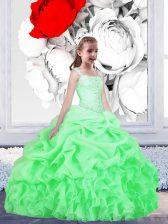 Pick Ups Floor Length Flower Girl Dresses Straps Sleeveless Lace Up