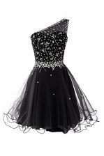 Low Price One Shoulder Mini Length Side Zipper Prom Dress Black for Prom and Party with Beading