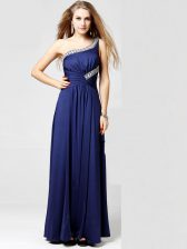Charming Blue Column/Sheath Silk Like Satin One Shoulder Sleeveless Beading and Ruching Ankle Length Side Zipper Prom Party Dress