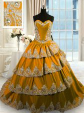 Brown Ball Gowns Taffeta Sweetheart Sleeveless Beading and Appliques and Ruffled Layers With Train Lace Up Quinceanera Dresses Court Train