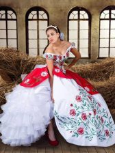 Cute Off the Shoulder Embroidery and Ruffled Layers Sweet 16 Dress White and Red Lace Up Cap Sleeves Floor Length