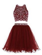 Scoop Burgundy Sleeveless Beading Mini Length Prom Evening Gown