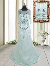 Customized Scoop Half Sleeves Tulle Homecoming Dress Beading and Lace Brush Train Zipper