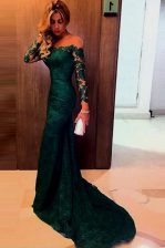 Mermaid Off the Shoulder Long Sleeves Sweep Train Lace Zipper Prom Evening Gown