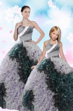 Sequins Pick Ups Ball Gowns Quinceanera Gown Multi-color Sweetheart Taffeta Sleeveless Floor Length Lace Up