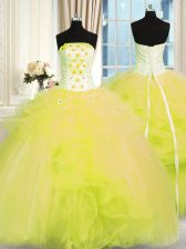 Tulle Strapless Sleeveless Lace Up Beading and Ruffles Quinceanera Gown in Yellow Green