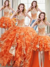 Stunning Four Piece Orange Ball Gowns Beading and Ruffles and Sequins Quinceanera Gown Lace Up Organza Sleeveless Floor Length