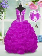 Fuchsia Kids Formal Wear Party and Wedding Party with Beading and Appliques and Pick Ups V-neck Sleeveless Lace Up