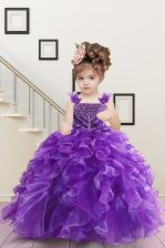 Purple Sleeveless Beading and Ruffles Floor Length Kids Pageant Dress