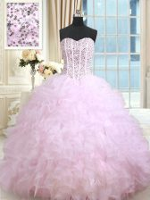Fitting Floor Length Lace Up Vestidos de Quinceanera Lilac for Military Ball and Sweet 16 and Quinceanera with Beading and Ruffles and Ruffled Layers