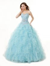 Exquisite Light Blue Organza Lace Up Quinceanera Gowns Sleeveless Floor Length Beading and Ruffles