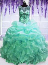 Pick Ups Scoop Sleeveless Lace Up Quinceanera Dresses Turquoise Organza