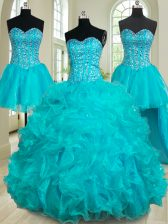 Glorious Four Piece Teal Ball Gowns Organza Sweetheart Sleeveless Beading and Ruffles Floor Length Lace Up Quinceanera Dress