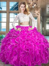 Superior Scoop Fuchsia Long Sleeves Floor Length Beading and Lace and Ruffles Zipper Quinceanera Dress