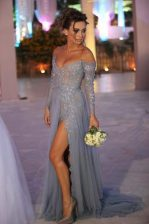 Fabulous Grey Column/Sheath Organza Off The Shoulder Long Sleeves Beading and Ruching With Train Zipper Prom Gown Sweep Train
