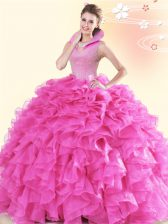 Hot Pink Organza Backless Quinceanera Gown Sleeveless Floor Length Beading and Ruffles