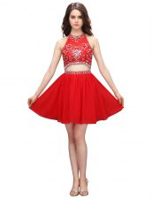 Eye-catching Coral Red Sleeveless Knee Length Beading and Appliques Zipper Homecoming Dress