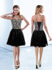 New Style Black A-line Sequins Lace Up Sequined Sleeveless Knee Length
