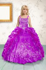 Inexpensive Sleeveless Floor Length Beading and Appliques and Pick Ups Lace Up Child Pageant Dress with Fuchsia