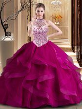 Inexpensive Halter Top Fuchsia Sleeveless Brush Train Beading and Ruffles With Train Quinceanera Gown