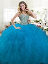 Teal Ball Gowns Beading and Ruffles Vestidos de Quinceanera Lace Up Tulle Sleeveless Floor Length