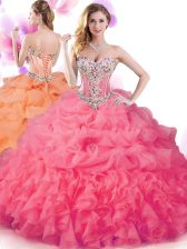 Popular Hot Pink Ball Gowns Beading and Ruffles and Pick Ups Ball Gown Prom Dress Lace Up Organza Sleeveless Floor Length