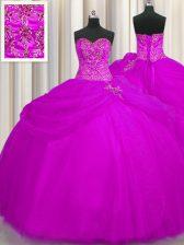 Flirting Fuchsia Sweetheart Neckline Beading Sweet 16 Dress Sleeveless Lace Up