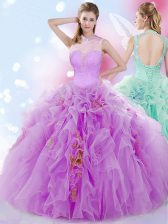 Gorgeous Halter Top Lilac Ball Gowns Beading and Ruffles 15th Birthday Dress Lace Up Tulle Sleeveless Floor Length