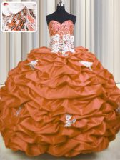 Luxury Sequins Pick Ups Sweetheart Sleeveless Brush Train Lace Up Vestidos de Quinceanera Orange Red Taffeta