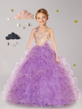 Pretty Halter Top Organza Sleeveless Floor Length Flower Girl Dress and Beading and Ruffles and Hand Made Flower