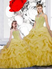 Affordable Yellow Lace Up Straps Beading and Ruffles and Pick Ups Quinceanera Dress Organza Sleeveless