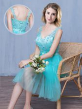 Aqua Blue Tulle Lace Up V-neck Sleeveless Knee Length Quinceanera Dama Dress Lace and Appliques and Bowknot