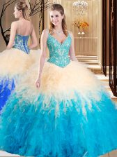 Trendy Tulle Sleeveless Floor Length Sweet 16 Quinceanera Dress and Lace and Ruffles