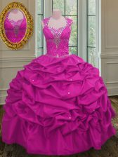 Chic Straps Beading and Pick Ups Quinceanera Gown Fuchsia Lace Up Cap Sleeves Floor Length