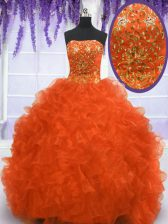 Strapless Sleeveless Brush Train Lace Up Quince Ball Gowns Orange Red Organza