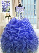 Organza Scoop Sleeveless Zipper Beading and Ruffles 15 Quinceanera Dress in Blue