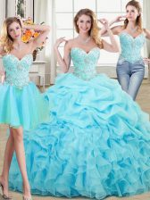 Three Piece Aqua Blue Ball Gowns Beading and Ruffles and Pick Ups Vestidos de Quinceanera Lace Up Organza Sleeveless Floor Length