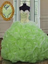 Dazzling Organza Lace Up Sweetheart Sleeveless Sweet 16 Quinceanera Dress Sweep Train Beading